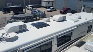 RV roof after RV roof sealant is applied