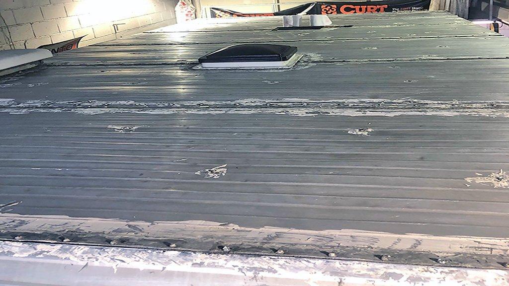 Metal Camper Roof Restoration Before